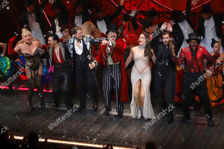 "Stock Picture of Robyn Hurder, Ricky Rojas, Aaron Tveit, Danny Burstein, Karen Olivo, Tam Mutu, Sahr Nguajah. Robyn Hurder, from left, Ricky Rojas, Aaron Tveit, Danny Burstein, Karen Olivo, Tam Mutu and Sahr Nguajah appear at the curtain call for the Broadway opening night of ""Moulin Rouge! The Musical,"" at the Al Hirschfeld Theatre, in New York"