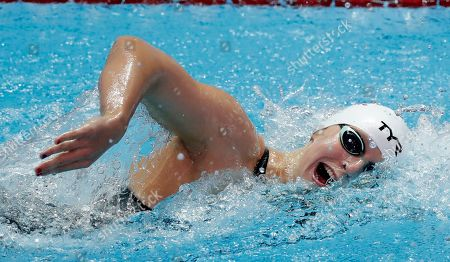 United States' Katie Ledecky swims in her women's 800m heat at the World Swimming Championships in Gwangju, South Korea