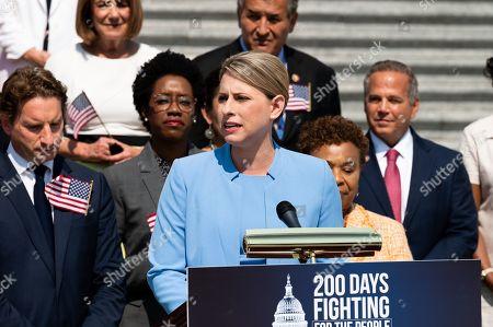 U.S Representative Katie Hill speaking at a press event