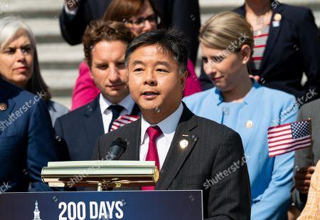 U.S Representative Ted Lieu speaking at a press event
