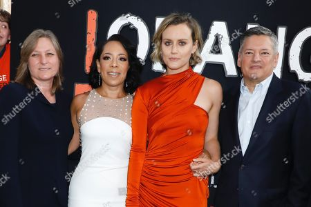 Cindy Holland, Selenis Leyva, Taylor Schilling and Ted Sarandos, Chief Content Officer for Netflix