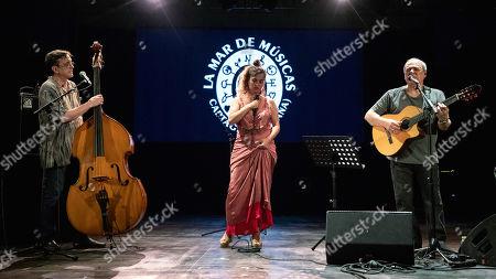 Silvia Perez Cruz (C), bass player Javier Colina (L) and Brazilian singer Toquinho perform during the 25th La Mar de Musicas Festival in Cartagena, Spain, 25 July 2019.