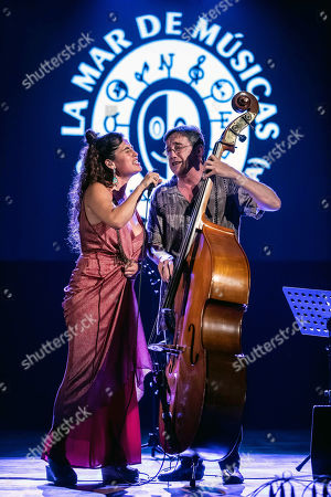Silvia Perez Cruz (L) and bass player Javier Colina (R) perform during the 25th La Mar de Musicas Festival in Cartagena, Spain, 25 July 2019.
