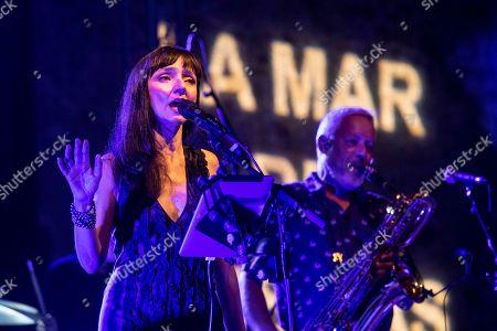 Stock Picture of Maria de Medeiros (L) performs during the 25th La Mar de Musicas Festival in Cartagena, Spain, 25 July 2019.