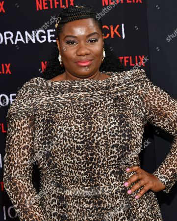 """Adrienne C. Moore attends the final season premiere of Netflix's """"Orange Is the New Black"""" at Alice Tully Hall, in New York"""
