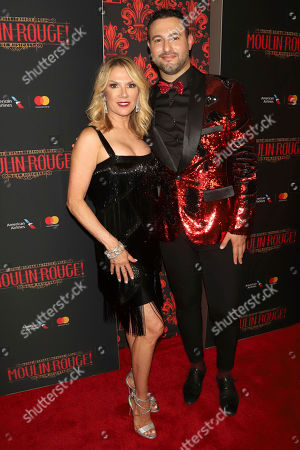 "Ramona Singer, left, and guest attend the Broadway opening night of ""Moulin Rouge! The Musical"" at the Al Hirschfeld Theatre, in New York"