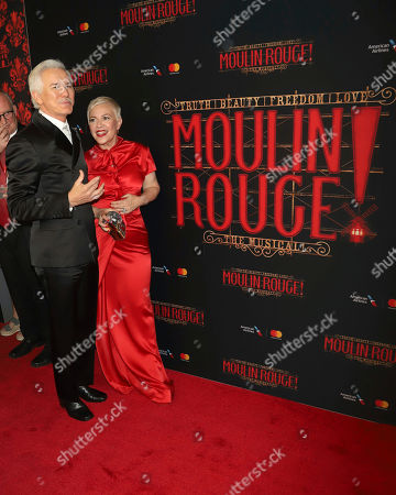 """Stock Image of Baz Luhrmann, Catherine Martin. Baz Luhrmann, left, and Catherine Martin attend the Broadway opening night of """"Moulin Rouge! The Musical"""" at the Al Hirschfeld Theatre, in New York"""