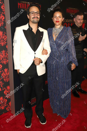 """Stock Image of Lin-Manuel Miranda, Vanessa Nadal. Lin-Manuel Miranda, left, and Vanessa Nadal attend the Broadway opening night of """"Moulin Rouge! The Musical"""" at the Al Hirschfeld Theatre, in New York"""