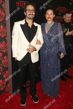 """Lin-Manuel Miranda, Vanessa Nadal. Lin-Manuel Miranda, left, and Vanessa Nadal attend the Broadway opening night of """"Moulin Rouge! The Musical"""" at the Al Hirschfeld Theatre, in New York"""
