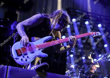 Reginald Arvizu with Korn performs at Ameris Bank Amphitheatre, in Atlanta