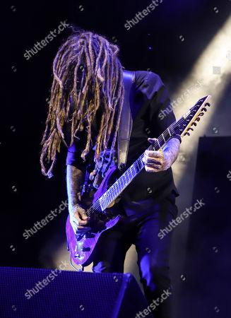 James Shaffer with Korn performs at Ameris Bank Amphitheatre, in Atlanta