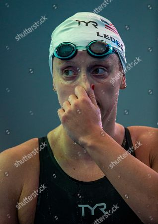 Katie Ledecky of the USA walks out after competing in the women's 800m Freestyle Heats during the Swimming events at the Gwangju 2019 FINA World Championships, Gwangju, South Korea, 26 July 2019.