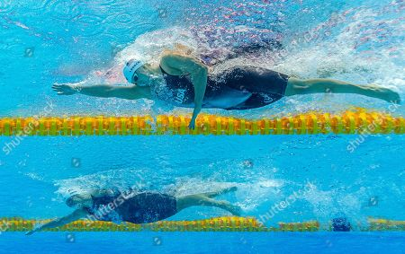 Katie Ledecky (top) and Leah Smith of the USA compete in the women's 800m Freestyle Heats during the Swimming events at the Gwangju 2019 FINA World Championships, Gwangju, South Korea, 26 July 2019.
