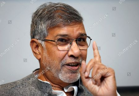 Stock Photo of Indian children's rights activist and Nobel Peace Prize Winner Kailash Satyarthi speaks during interview in Bangkok, Thailand, 23 July 2019 (issued 26 July 2019). Satyarthi, a Nobel Peace Prize recipient, is in Bangkok to attend the Education International 8th World Congress.