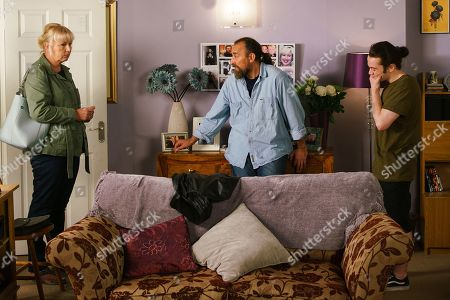 Ep 9837 Friday 2nd August 2019 - 1st Ep Abi is intrigued when she spots Jan, as played by Piotr Baumann, getting into Rachel's car and tells Seb Franklin, as played by Harry Visinoni. When Jan returns home Seb confronts him, just as Eileen Grimshaw, as played by Sue Cleaver, walks in.