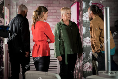 Ep 9841 Wednesday 7th August 2019 - 1st Ep Eileen Grimshaw, as played by Sue Cleaver, quizzes Jan, as played by Piotr Baumann, but he insists he was working in Birmingham but something is niggling her and she heads to the salon where she finds Jan, Nikolai and Rachel, as played by Verity Henry, hastily putting all the fixtures and fittings into a van.