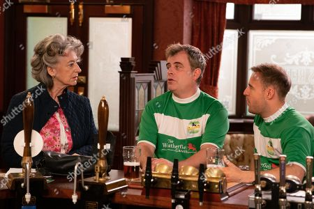 Ep 9844 Friday 9th August 2019 - 2nd Ep A furious Steve McDonald, as played by Simon Gregson, tells Tyrone Dobbs, as played by Alan Halsall, that Evelyn, as played by Maureen Lipman, is running an illegal gambling den from the corner shop using inside information gleaned from James Bailey.