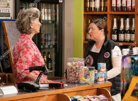Ep 9839 Monday 5th August 2019 - 1st Ep In the corner shop, Mary Taylor, as played by Patti Clare, is shocked to discover Evelyn, as played by Maureen Lipman, is marking the prices down on goods she wants to purchase herself. When Mary threatens to report her to Dev, Evelyn bars her from the shop.