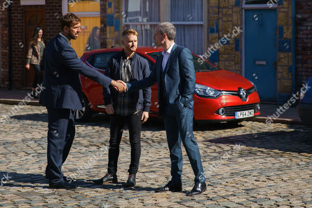Ep 9843 Friday 9th August 2019 - 1st Ep Sarah tells the workers that the insurance company will only pay out £20k which will not be enough to rebuild the factory. But Gary Windass, as played by Mikey North, has an idea and introduces a business associate Derek Milligan, as played by Craige Els, to Nick Tilsley, as played by Ben Price, as a new investor for the factory.