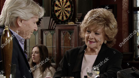 Ep 9842 Wednesday 7th August 2019 - 2nd Ep Rita Tanner, as played by Barbara Knox, urges Ken Barlow, as played by William Roache, and Claudia to talk honestly with each other as it's clear to her that they're going to miss one another.