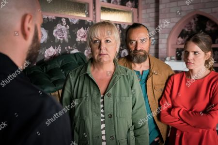 Ep 9842 Wednesday 7th August 2019 - 2nd Ep Eileen Grimshaw, as played by Sue Cleaver, is gutted when Jan, as played by Piotr Baumann, tells her that he's a liar and a cheat and that he never cared for her. A fight ensues between Jan and Nikolai who smashes Eileen's phone so she can't call the police. As Eileen starts to fear for her life the police smash their way into the salon and arrest them all and cart them off to the police station.