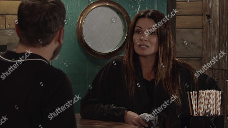 Stock Photo of Ep 9838 Friday 2nd August 2019 - 2nd Ep Carla Connor, as played by Alison King, is shocked when Roberts shows her some of the messages from her family on his phone to out her off the scent. Furious she goes to confront them for keeping tabs on her. With Peter Barlow, as played by Chris Gascoyne.