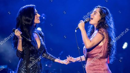 Stock Image of Ana Moura (L) and Spanish singer Silvia Perez Cruz perform during a concert held as part of 25th La Mar de Musicas music festival at Parque Torres Auditorium in Cartagena, southeastern Spain, 26 July 2019. The festival runs 19 to 27 July.