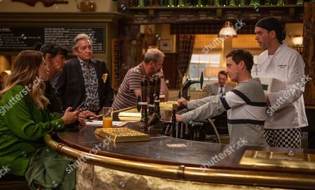 Ep 8549 Monday 29th July 2019  At the Woolpack, Matty Barton, as played by Ash Palmisciano, mortified about his behavior the day before. With Debbie Dingle, as played by Charley Webb ; Kerry Wyatt, as played by Laura Norton ; Rodney Blackstock, as played by Patrick Mower ; Jimmy King, as played by Nick Miles ; Marlon Dingle, as played by Mark Charnock.