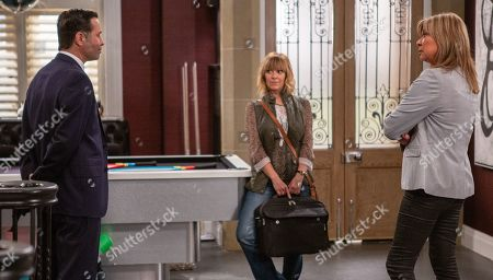 Ep 8549 Monday 29th July 2019  Rhona Goskirk, as played by Zoe Henry, called to Home Farm she spots a chess board and makes the first move. With Graham Foster, as played by Andrew Scarborough ; Kim Tate, as played by Claire King.