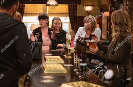 Ep 8560 Thursday 8th August 2019 - 1st Ep When Kerry Wyatt, as played by Laura Norton, overhears Bernice Blackstock, as played by Samantha Giles, & Nicola King discuss fundraising, she feels a plan percolating and blurts out she will be holding a fundraiser for the kiddie's hospital. Amy Wyatt, as played by Natalie Ann Jamieson, fumes, acutely aware Kerry's not keeping a low profile. With Kim Tate, as played by Claire King ; Charity Dingle, as played by Emma Atkins.