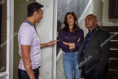 Ep 8557 Tuesday 6th August 2019 - 1st Ep Jai Sharma, as played by Chris Bisson, is full of trepidation as they prepare to read the terms of Kim's loan. Jai is livid at Rishi Sharma, as played by Bhasker Patel, when he reads it, seeing no solution to their dire financial crisis.