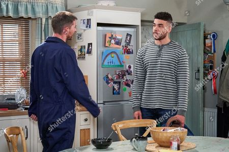 Ep 8556 Monday 5th August 2019 Nate Robinson, as played by Jurell Carter, is disappointed when Pete Barton, as played by Anthony Quinlan, reveals Moira has gone away to Nana Barton's.