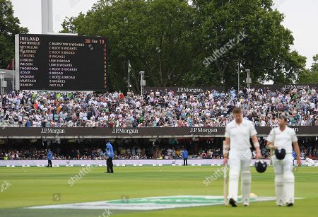 Stock Photo of England vs Ireland. A view of the scoreboard as Ireland's Tim Murtagh and Boyd Rankin walk off
