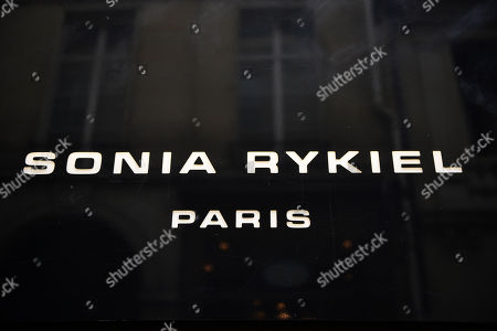 Stock Image of A view of the logo of the Sonia Rykiel shop on the Boulevard Saint Germain in Paris, France, 26 July 2019. According to reports on 25 July 2019 French Sonia Rykiel fashion house is going into liquidation following a court decision.