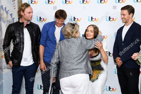 Stock Image of Jack Fox, Kris Marshall, Rose Williams, Leo Suter and Charlotte Spencer and Anne Reid