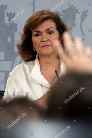 Acting Spanish Deputy Prime Minister Carmen Calvo Poyato addresses a press conference after the weekly cabinet meeting at La Moncloa Palace in Madrid, Spain, 26 July 2019. Calvo said that the government 'does not throw in the towel' and 'maintains the enthusiasm and commitment' despite the unsuccessful investiture vote of acting Prime Minister Pedro Sanchez (unseen), held a day before. Calvo blamed Spanish People's Party and Ciudadanos (Citizens) party of the failure of the investiture process.