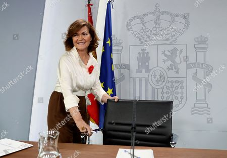 Acting Spanish Deputy Prime Minister Carmen Calvo Poyato smiles upon her arrival to address a press conference after the weekly Cabinet meeting at La Moncloa Palace in Madrid, Spain, 26 July 2019. Calvo said that the government 'does not throw in the towel' and 'maintains the enthusiasm and commitment' despite the unsuccessful investiture vote of acting Prime Minister Pedro Sanchez (unseen), held a day before. Calvo blamed Spanish People's Party and Ciudadanos (Citizens) party of the failure of the investiture process.