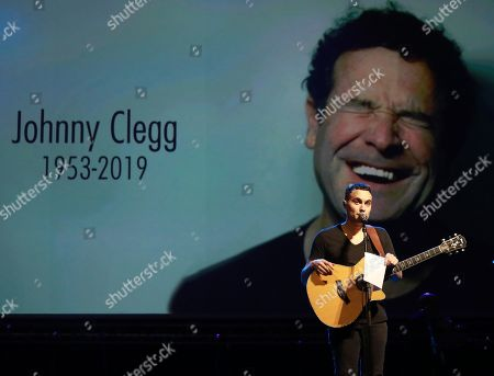 Johnny Clegg's son, Jessie Clegg sings a tribute to his late father during the memorial for South African musician Johnny Clegg in Johannesburg, South Africa, 26 July 2019. Clegg died of cancer at the age of 66 after a career with his band Juluka.