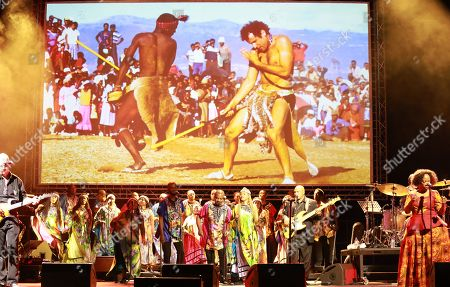Performers sing and dance during the memorial for late South African musician Johnny Clegg in Johannesburg, South Africa, 26 July 2019. Clegg died of cancer at the age of 66 after a career with his band Juluka.