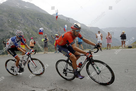 Italy's Vincenzo Nibali of Bahrain Merida team (R) and France?s Warren Barguil of team Arkea Samsic in action during the 19th stage of the 106th edition of the Tour de France cycling race over 126,5km between Saint Jean de Maurienne and Tignes, France, 26 July 2019.