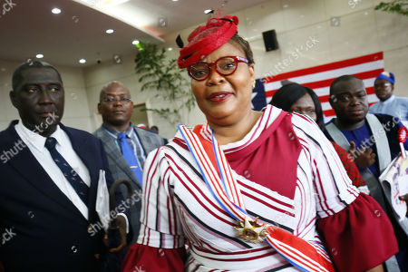 Leymah Gbowee (C), 2011 Nobel Peace Prize Laureate and National Orator of the event during the official ceremony marking Liberia's 172nd Independent Anniversary at the Samuel Kanyon Doe Sports Stadium in Paynesville outside Monrovia, Liberia, 26 July 2019. The Presidents of Nigeria, Sierra Leone, Guinea, Ivory Coast, Burkina Faso are in attendance to grace this year's occasion.  Liberia declared its independence in 26 July 1847, making the West African nation the first democratic republic in the history of Africa.