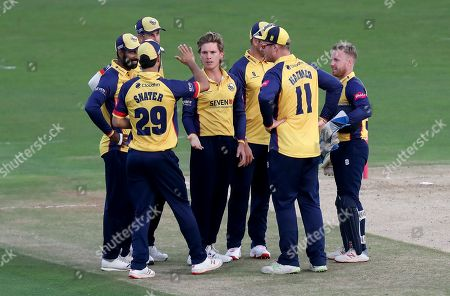 Adam Zampa is congratulated by his Essex team mates having taken the wicket of Mohammad Nabi during Kent Spitfires vs Essex Eagles, Vitality Blast T20 Cricket at The Spitfire Ground on 26th July 2019