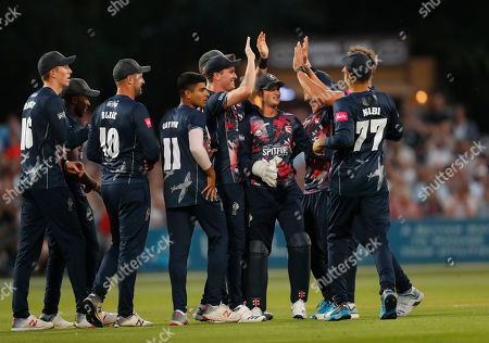 Adam Milne (C) of Kent is mobbed after running out Cameron Delport during Kent Spitfires vs Essex Eagles, Vitality Blast T20 Cricket at The Spitfire Ground on 26th July 2019