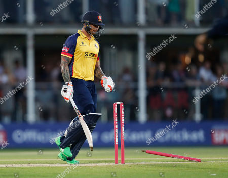 Cameron Delport of Essex is run out by Adam Milne during Kent Spitfires vs Essex Eagles, Vitality Blast T20 Cricket at The Spitfire Ground on 26th July 2019