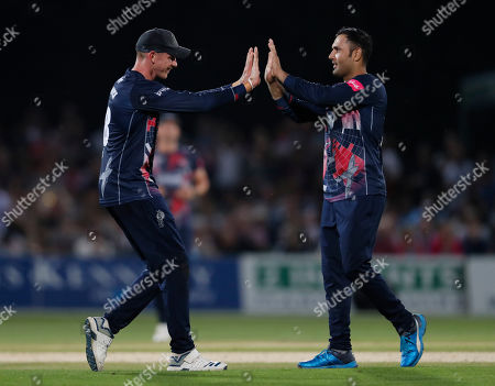 Mohammad Nabi (R) of Kent is congratulated by Fred Klaassen after taking the wicket of Adam Wheater during Kent Spitfires vs Essex Eagles, Vitality Blast T20 Cricket at The Spitfire Ground on 26th July 2019