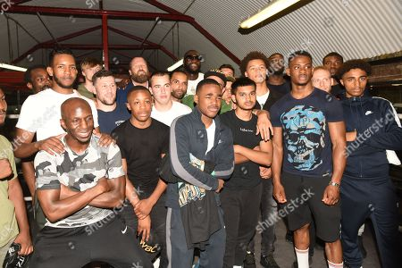 Deontay Wilder with members of Fitzroy Lodge during a Media Event at Fitzroy Lodge Gym on 26th July 2019