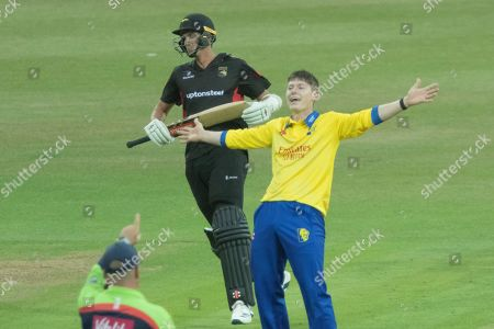HAT TRICK - Matthew Potts appeals for LBW against Chris Wright to get a Hat trick during the Vitality T20 Blast North Group match between Leicestershire Foxes and Durham Jets at the Fischer County Ground, Grace Road, Leicester