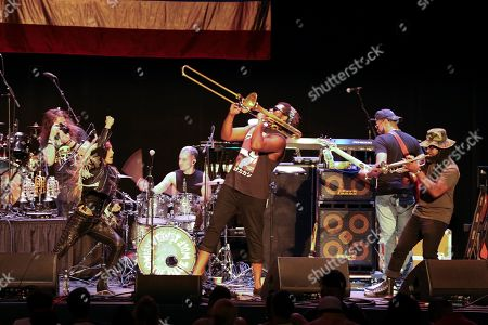 Miss Velvet & Blue Wolf performs as the opener for George Clinton & Parliament-Funkadelic at the Fox Theatre, in Atlanta