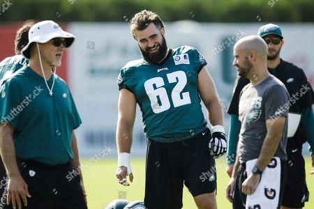 Philadelphia Eagles center Jason Kelce during practice at the NFL football team's training camp in Philadelphia