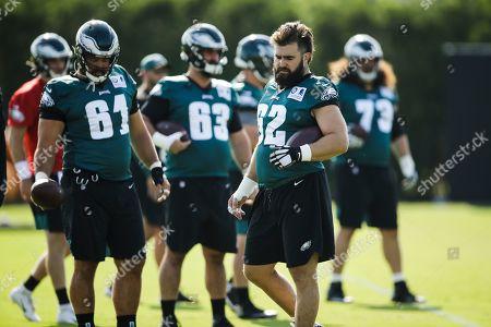 Philadelphia Eagles center Jason Kelce (62) during practice at the NFL football team's training camp in Philadelphia